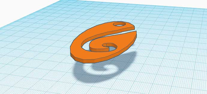 Screenshot of a 3D pendant in a 3D modelling program
