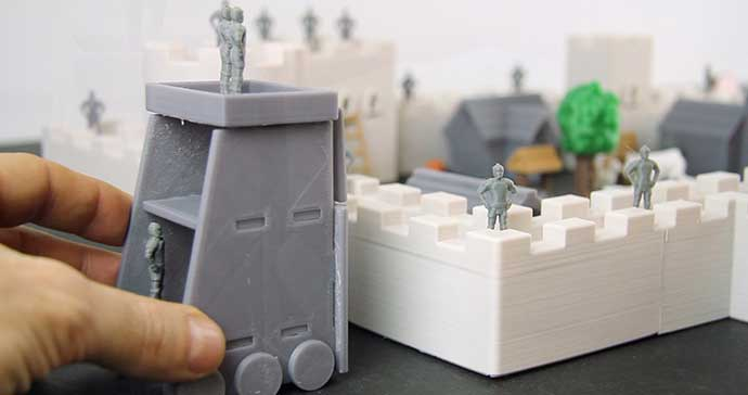 A 3D printed castle playset