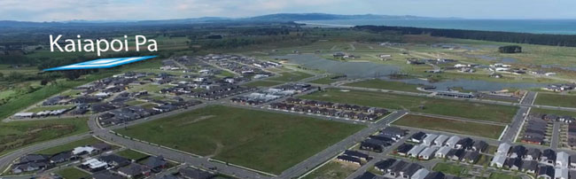 An aerial shot of Pegasus school, with Kaiapoi Pa highlighted