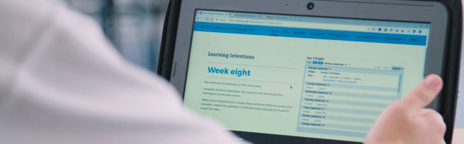 A flipped learning website on a laptop screen