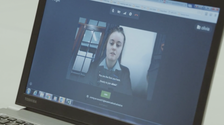 A student in a Google Hangout