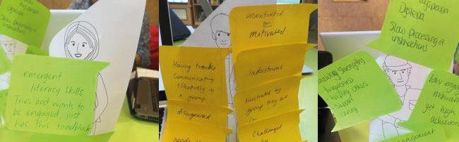 A collection of students Post-it notes