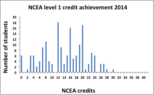 Graph showing Mangare NCEA credit student results 2014