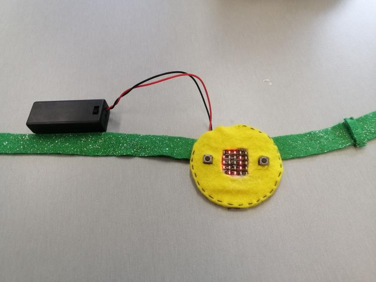 Microbit on headband.