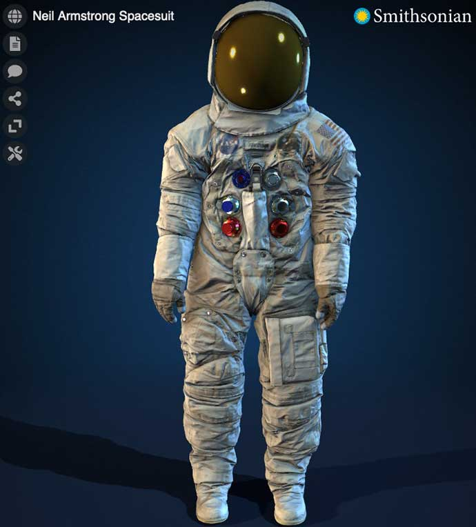 A computer model of Neil Armstrong's spacesuit