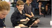 Student using a netbook