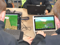 Students collaborate in minecraft