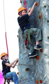 Rock climbing at school