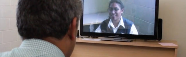 A student learning by video conference