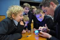 Teacher and students using sphero