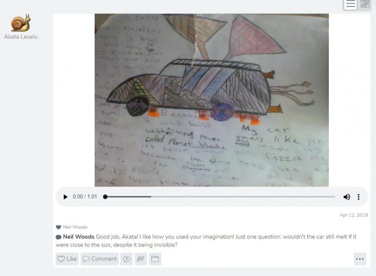 A screenshot of seesaw showing student work.